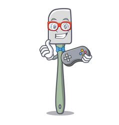 Gamer cooking tool silicone spatula mascot cartoon vector