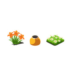 Garden plants lilies and chamomiles flowers game vector