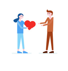 girl giving red heart to boy love romantic flat vector image