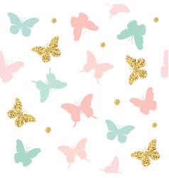 Glitter pastel pink and blue butterflies seamless vector