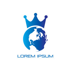 Globe crown business logo vector