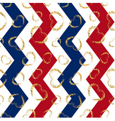 gold heart seamless pattern blue-red-white vector image