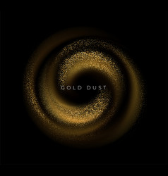 gold sequins glitter dust swirl isolated on black vector image