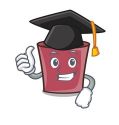 Graduation hot chocolate character cartoon vector