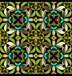 green floral seamless pattern ornamental vector image