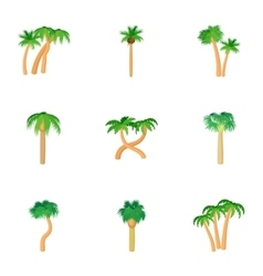 Green palms icons set cartoon style vector