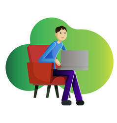 Guy freelancer with laptop vector