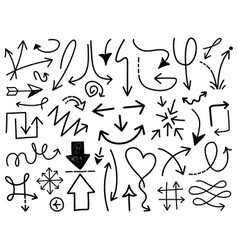 Hand draw arrow set 3 vector