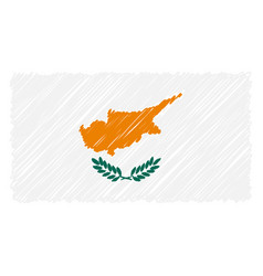 hand drawn national flag of cyprus isolated on a vector image