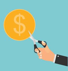 hand scissors cutting money sale concept vector image