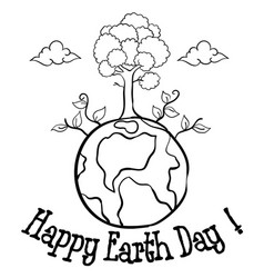 Happy earth day with tree hand draw vector