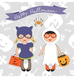 Happy Halloween card with two kids in costumes vector image