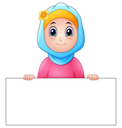 Happy muslim girl wearing blue veil holding blank vector