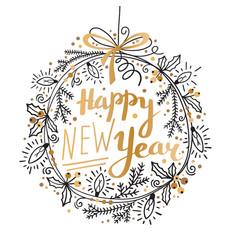 Happy new year card festive wreath fir vector