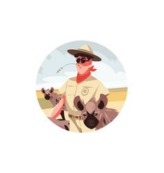 Happy safari visitor man vector