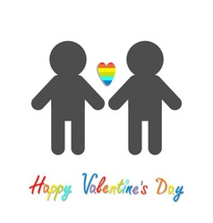 Happy Valentines Day Love card Gay marriage Pride vector image