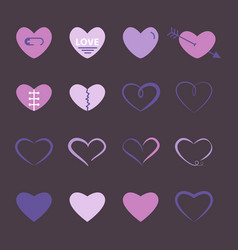 hearts flat icon set in purple and pink color vector image
