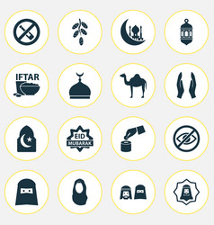 holiday icons set collection of beneficence vector image