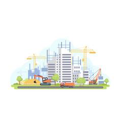 Housing complex under construction - flat design vector