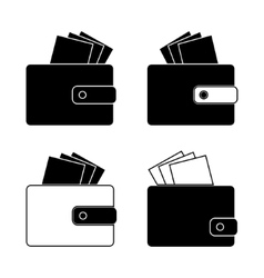 Icon - wallet with bills money Design in the flat vector image
