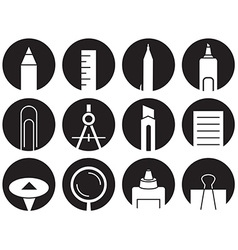 Icons stationery in circles vector