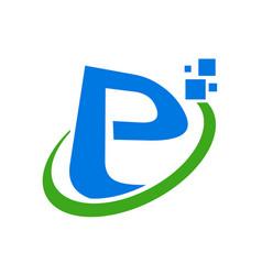 Initial e or p letter global digital symbol design vector