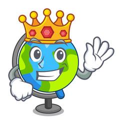 King globe mascot cartoon style vector