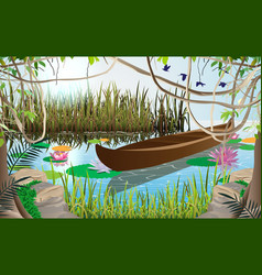 Landscape wooden boat in swamp in fores vector