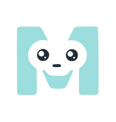 Letter m cute kawaii character funny smiley clip vector