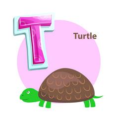 Letter t for turtle cartoon alphabet for children vector
