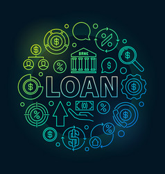 Loan round outline colorful vector