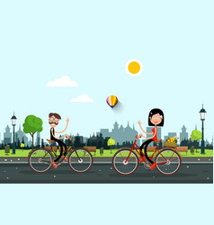 man and woman riding bikes in city park vector image