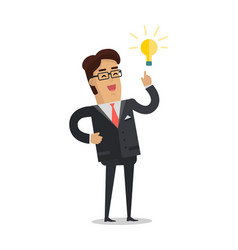 Man with bulb isolated businessman with ideas vector