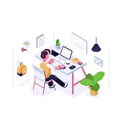 Man working at desk vector
