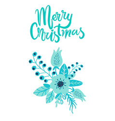 merry christmas holiday card floristic composition vector image