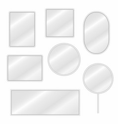 mirrors set in different forms with blurry vector image