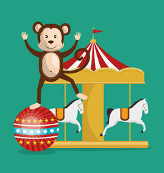 Monkey and carousel circus show vector