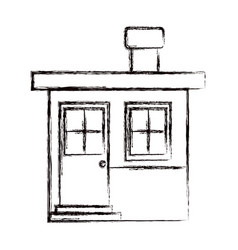 Monochrome blurred silhouette of small house with vector
