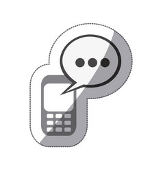 Monochrome silhouette sticker of cell phone with vector