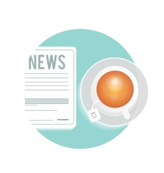 Newspaper with a cup of tea coffee on a table vector image