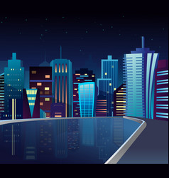 night cityscape with lake vector image