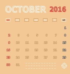 October 2016 monthly calendar template vector image