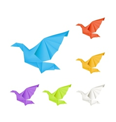 Origami doves set vector