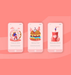 people and junkfood mobile app page onboard screen vector image