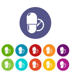 pills icons set color vector image