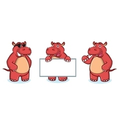 Red Hippo Mascot happy vector image
