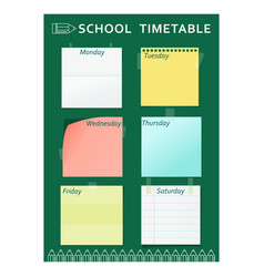 School timetable green pencil vector