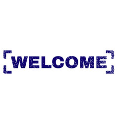 scratched textured welcome stamp seal inside vector image