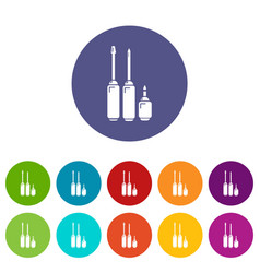 screwdriver icons set color vector image