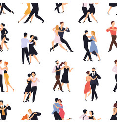 seamless pattern with elegant couples dancing vector image